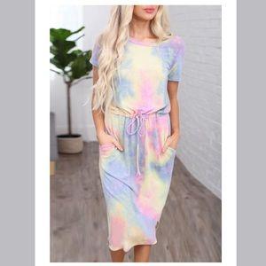 Women's Tie Dye Midi Dress with Pockets